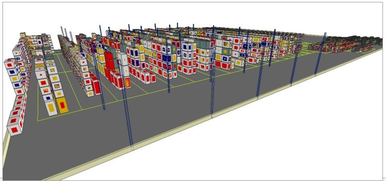 3d modeling of a warehouse on the ipad